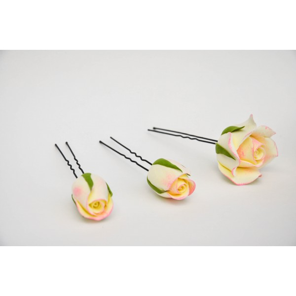 Набор из 5 шпилек в виде роз и бутонов нежно-персикового цвета