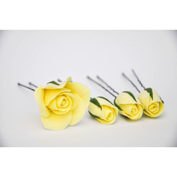 Набор из 5 шпилек в виде роз и бутонов ярко желтого цвета