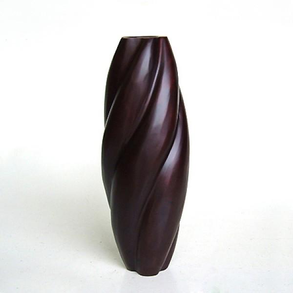 Ваза крученая из дерева манго, цвет венге 40 см.