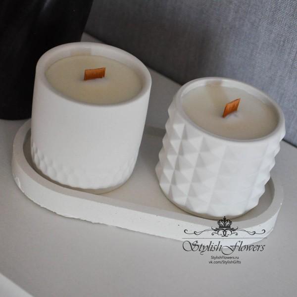 Набор ароматических свечей в кашпо из бетона